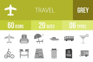 60 Travel Greyscale Icons
