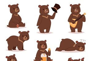 Cartoon bear vector set