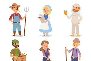 Farmers people vector set