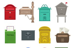 Post mail box vector set