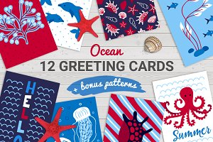 12 Ocean Cards + Bonus Patterns