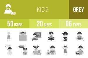50 Kids Greyscale Icons
