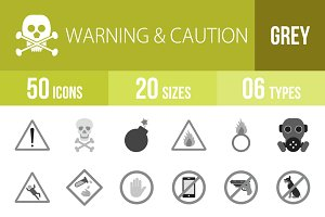 50 Warning & Caution Greyscale Icons