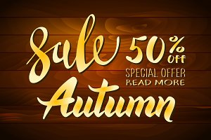 Autumn sale vector wooden