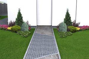 Backyard landscape, 3d illustration