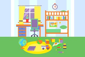 Kid Bedroom Vector Illustration