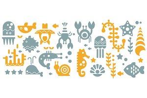 Sea animals and plants