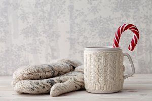Winter cup with candy cane