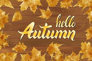 hello autumn text on wooden vector