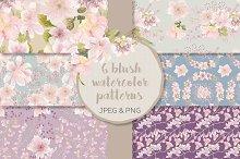 Watercolor patterns: blush Magnolias