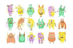 Funny Emotional Cartoon Monsters