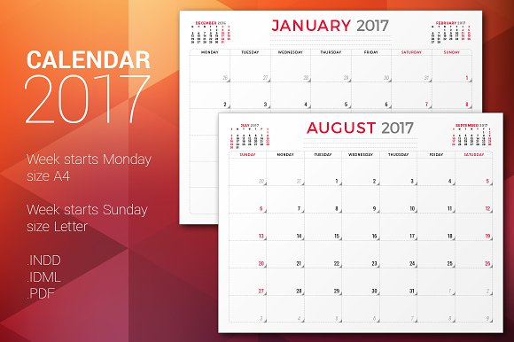 monthly planner 2017 stationery templates creative market