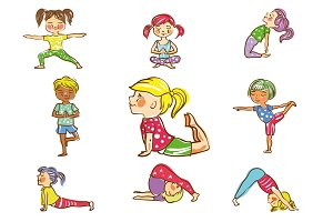 Kid's yoga vector illustration