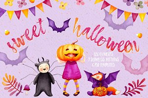 Sweet Halloween - Fall Watercolor