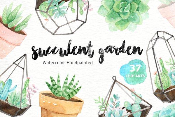 Succulent Garden Watercolor Clipart…