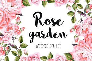 Rose garden watercolor set