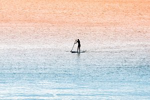 Standup paddle surfer girl