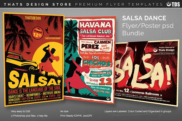 Salsa Dance Flyer Bundle Flyer Templates Creative Market