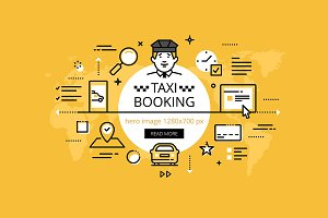 Taxi booking hero banners set