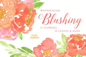 Pink Watercolor Peonies Clipart