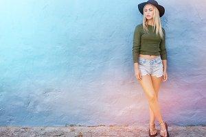 Female model in trendy casual wear