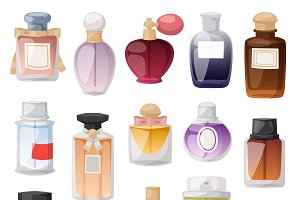 Perfume bottle vector set