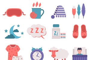 Sleep icons vector set