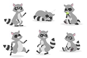 Cartoon raccoon vector