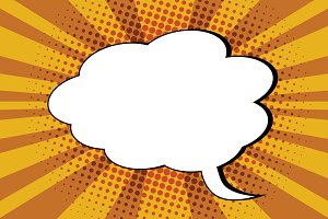 Comic bubble cloud pop art retro