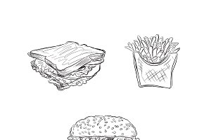 fast food set, sketch style