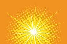 bright star with rays pop art retro