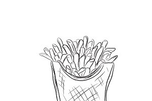 french fries, sketch style