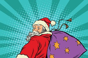 follow me, Santa Claus with gifts
