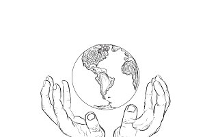 hands holding planet, sketch