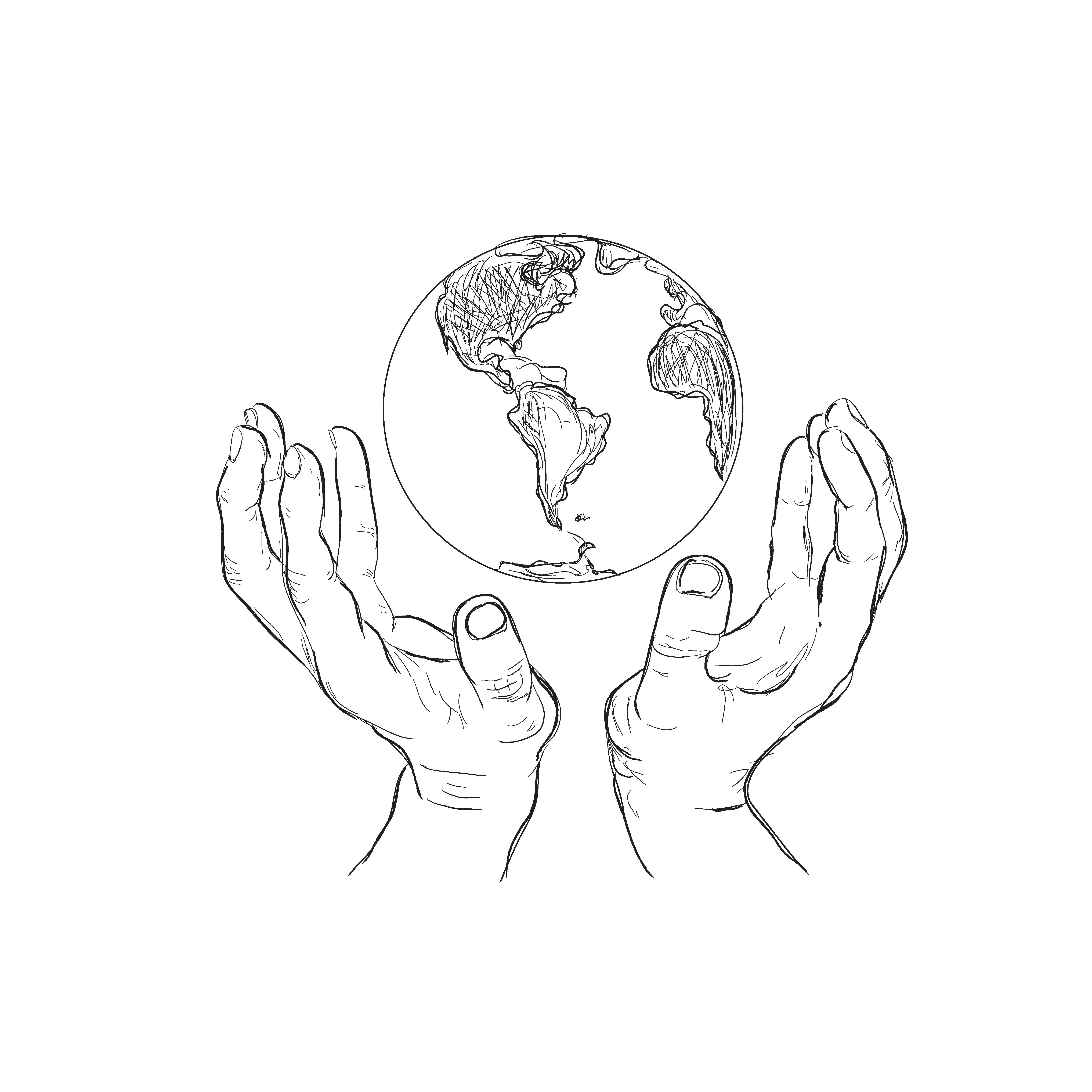 hands holding planet, sketch ~ Illustrations ~ Creative MarketGrabbing Hand Drawing
