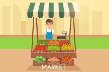 Stall market. Selling vegetables.