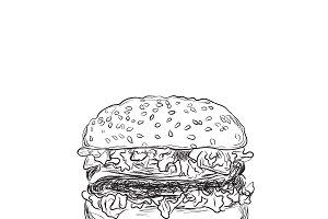 hamburger, sketch style