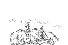 nature, mountains, sketch