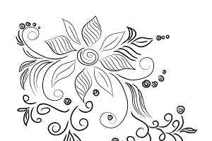 flower, ornament, sketch