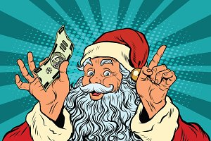 Santa Claus with money