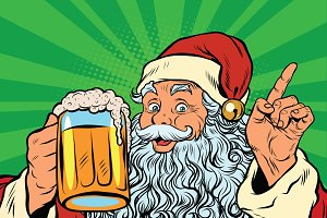 Santa Claus with beer