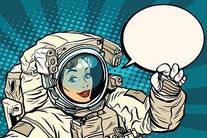 OK gesture female astronaut