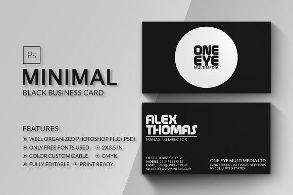 Minimal black business card business card templates creative market reheart Gallery