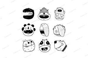 Doodle Cartoon Funny Monster Faces