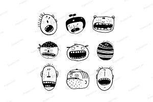 Doodle Cartoon Emotional Faces