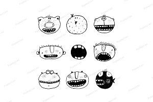 Cartoon Monster Faces with Teeth