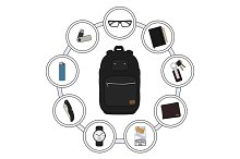 Backpack contents. Vector