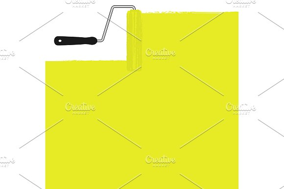 Yellow paint roller. Vector - Illustrations