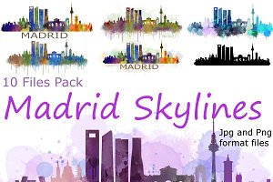 12xFiles Pack Madrid Spain Skylines