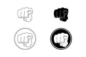 Pointing fingers set. Vector